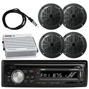 Pyle Plcdbt95 Boat Radio Stereo System, 4x 4 Speakers, Antenna, 4ch Amplifier