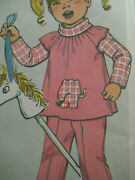 Vintage Simplicity 8595 Cap Sleeve Dress Or Tunic Sewing Pattern Toddler Girl