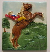 Roy Rogers And Trigger And039many Happy Trailsand039 Prototype Plaster Plaque Rare