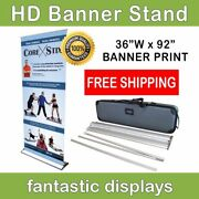 36 Pro Line Retractable Banner Stand With Print Included For Trade Shows