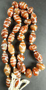 Decorated Carnelian 33 Beads From Tibet- China 仿古刻蚀中国藏玛瑙珠 1000 Years +old