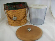 Longaberger 2003 Ice Bucket Basket Combo W Insert And Lid, Tie On Autumn Leaves