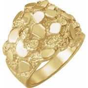 New Men's Solid 10k, 14k Or 18k Yellow Gold Intricate Nugget Design Ring