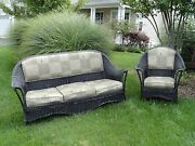 1920and039s Bar Harbor Matching Wicker Sofa And Chair