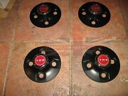 New Set Of 4 Black Hub Caps Wheel Centers With Badges For 1970-1976 Triumph Tr6