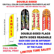 15and039 Double Sided Custom Swooper Advertising Flag Feather Banner +pole And Spike