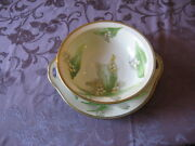 "Antique O & E.G. Hand Painted and Signed, Bowl and Platter "" Lily of the Valley"""