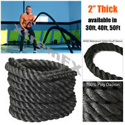 2 Battle Rope Poly Dacron Undulation Rope Exercise Fitness 30ft 40ft 50ft