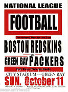 Green Bay Packers Vs Boston Redskins Poster 1936 Nfl Vintage Football Lge 13x19