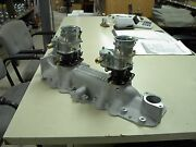 Nos Offy Offenhauser 42-48 59a Ford Mercury Flathead Stromberg 97 2 Carb Intake