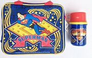 Superman Insulated Vinyl Lunch Box W Thermos 1998 Mint / Unused