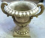 Very Ornate Fancy Urn Heavy Cast Iron Aged White Very Nice Home Decor