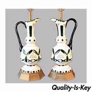 P020 Dazzling Large Pair Antique Bohemian Glass Ewer Lamps Coin Dot Cut To Green