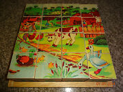 Wood/wooden Block/cube 16 Piece 6 Sided Puzzle In Tray Farm Animals Numbers +