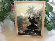 Vintage Silhouette Picture Reverse Painted Convex Glass Mary Had A Little Lamb