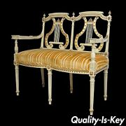 Vintage French Louis Xvi Neoclassical Styl Carved Gilt Lyre Back Loveseat Settee