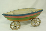 Antique French Miniature Boat On Wheels Pull Toy Trouville C1910