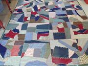 Vintage Wool And Blend Crazy Antique Folk Art Quilt, Hand Quilted, 72 X 83