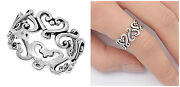 Sterling Silver 925 Eternity Heart Design Silver Band Promise Ring Sizes 4-13