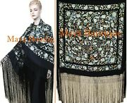 Hand Embroidered Flamenco Silk Piano Shawl Floral Birds Butterfly Huge 90 Maya