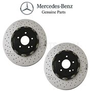 For R171 W209 Pair Set Of 2 Disc Brake Rotors Vented Cross Drilled Slotted