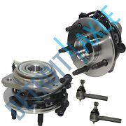 New 4 Pc Kit 2 Front Wheel Hub Bearing Assembly W/ Abs Awd 4wd + 2 Outer Tie Rod