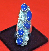 Navajo Size 10.5 Blue 5 Stone Lapis Silver Collectible Native American Ring Usa