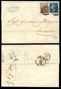 Gb Qv 1866 Entire To Italy Turin 6d Sg84 Kf + 2d Blue London...rosselli Cachet