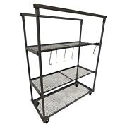 Champ Steel Metal 3 Rolling Shelves Shop Parts Rack And Hooks 1410 - Tool Storage