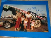 John Force Courtney Force Brittany Ashley Laurie Signed 12x18 Photo Coa