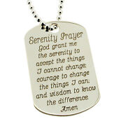 925 Sterling Silver Serenity Prayer Tag Pendant With Chain And Engraving Options