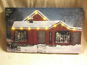 Antiques Old Store Front Christmas Lighted Canvas Wall Decor Sign New Lights Up