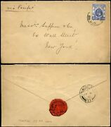 China 1915 Tientsin Br.p.o To Wall St Ny...collins + Co Embossed Flap Env + Seal