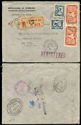 French Indochina 1941 Registered Via Hawaii To Ny Customs Opened..metallurgy Env