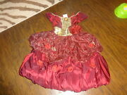 The Disney Store Beauty And The Beast Belle Red Christmas Dress Costume Xs 4