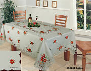 Christmas Embroidered Red Poinsettia Tablecloth 70x140 And 12 Napkins 6626e