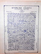 Old Sterling County Texas Land Office Owner Map City Broome Kellis Divide