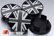 Union Jack In Black And White Center Wheel Hup Caps Set 54mm Fits Bmw Mini Cooper