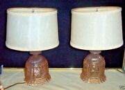 2 Pair Stunning Czech Pink Cut Depression Glass Bedroom Lamp And Shade Unique