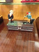 Mechanical Bank Golf Putting Cast Iron Hand Painted Perfect