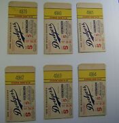 Six 1955 World Series Standing Room Ticket Stubs In Order From 4979 To 4984