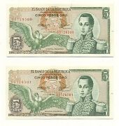 Colombia Note 5 1971 Replacement Pair Pareja Very Rare Unc