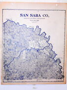 Old San Saba County Texas Land Office Owner Map Richland Springs Cherokee Bend