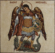 Blessed Saint Micheal The Archangel Figure Marble Mosaic