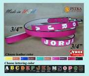 Medium Custom Dog Collars And Leashes - Personalized Leather Dog Collars Us Made