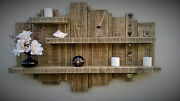 Rustic Reclaimed Handmade Floating Wall Timber Shelf And Mirror Wood Display Unit