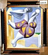 Vadim-bathers With Beach Ball After Picasso-framed Hand Painted Oil On Canvas