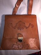 Pre-owned Unisex Large Hand Tooled Leather Messenger Cross Body Bag Italy