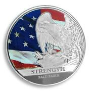 American Strength Freedom Usa Colorized Silver Coin Eagle Flag Token