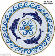 Mosaic Dolphin Medallion For Pool Wall Table Walk Way Patio 36 - Free Shipping